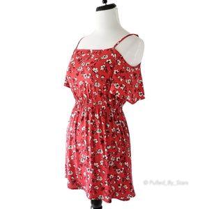 H&M • Red & White Floral Cold-Shoulder Mini Dress